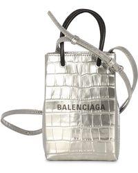 Balenciaga Shopping Phone Holder - Metallic