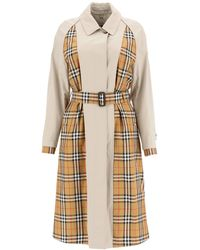 Burberry Guisley Check Print Panelled Cotton Trench Coat - Natural