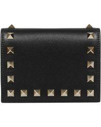 Valentino Garavani Rockstud Folded Wallet - Black