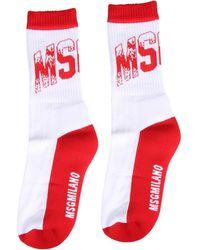 MSGM Logo Crew Socks - Red