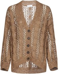 Brunello Cucinelli Loose Cable Knit Cardigan - Brown