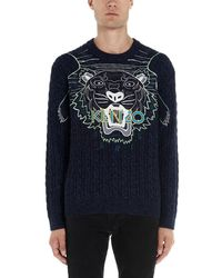 KENZO Embroidered Tiger Logo Sweater - Blue