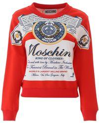 Moschino X Budweiser Printed Cotton-jersey Sweatshirt - Red