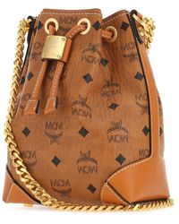 MCM Berlin Visetos Drawstring Bucket Bag - Brown