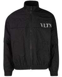 Valentino Vltn Logo Print Bomber Jacket - Black