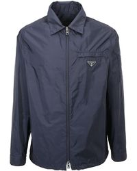 Prada Zipped Logo Shirt Jacket - Blue