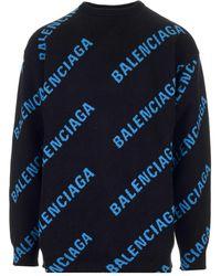 Balenciaga Oversized Logo-intarsia Cotton-blend Jumper - Blue