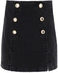 Alessandra Rich Button Embellished Denim Mini Skirt - Black