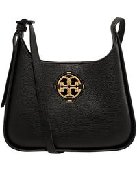 Tory Burch Miller Small Hobo Leather Bag Black