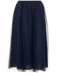 RED Valentino Redvalentino Tulle Pleated Midi Skirt - Blue