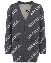 Balenciaga All Over Logo Cardigan - Grey
