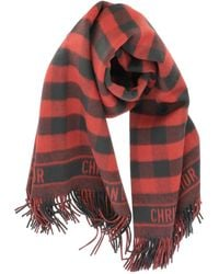 Dior Checked Fringed Scarf - Red
