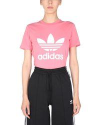 adidas Originals Crew Neck Cotton Jersey T-shirt With Logo Print - Pink
