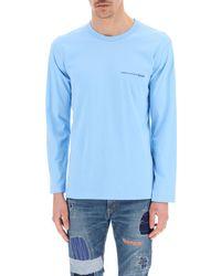 Comme des Garçons Long-sleeved T-shirt With Logo Xs Cotton - Blue