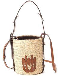 Miu Miu Logo Braided Bucket Bag - Natural
