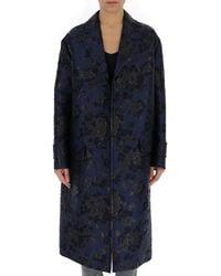 Prada Patterned Trench Coat - Blue