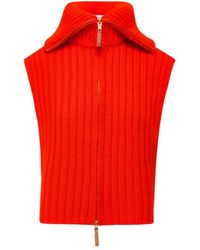 Tory Burch Zip-front Knit Vest - Red