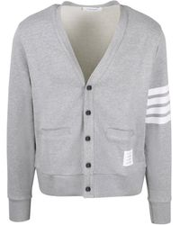 Thom Browne 4-bar Loopback Buttoned Cardigan - Gray