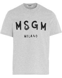 MSGM Paint Brushed Logo T-shirt - Grey