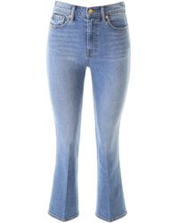 Tory Burch Cropped Bootcut Jeans - Blue