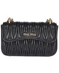 Miu Miu Matelassé Logo Shoulder Bag - Black