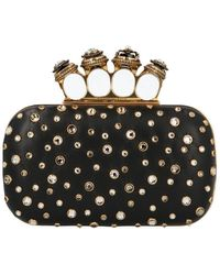 Alexander McQueen Spider Jewelled Four-ring Box Clutch - Black