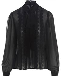 Self-Portrait Pussybow Lace Sheer Blouse - Black