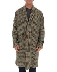 Gucci Single Breasted Houndstooth Coat - Green