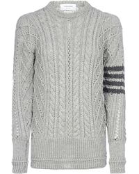 Thom Browne 4-bar Cable Knit Sweater - Gray