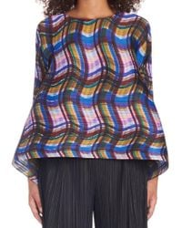 Pleats Please Issey Miyake - Wavy Plaid Top - Lyst
