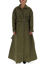 Jacquemus Belted Flared Trench Coat - Green