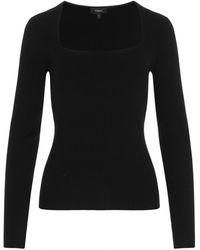 Theory - Ribbed Square Neck Jumper - Lyst