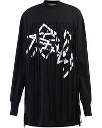 Palm Angels Logo Print Fringed Dress - Black