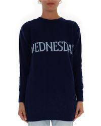 Alberta Ferretti Wednesday Mini Sweater Dress - Blue