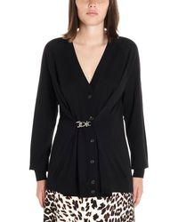 Prada Buckle Detail V Neck Cardigan - Black