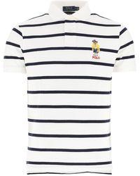 Polo Ralph Lauren Bear-appliqué Striped Polo Shirt - White