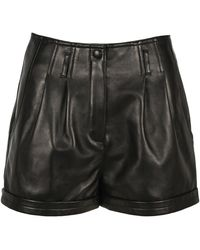 Saint Laurent Pleated Shorts - Black