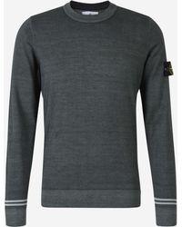 Stone Island Logo Knit Sweater - Grey