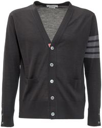 Thom Browne 4-bar Stripe V-neck Cardigan - Black