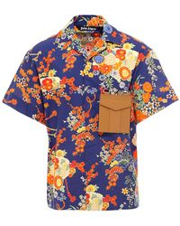Palm Angels Blooming Shirt - Blue
