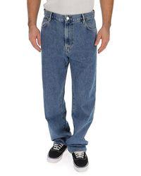 Burberry Crest Print Wide Leg Jeans - Blue