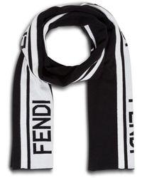 Fendi Logo Intarsia Scarf - Black