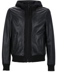 Philipp Plein Logo Embossed Hooded Leather Jacket - Black