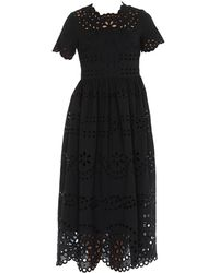 RED Valentino Broderie Anglaise Flared Dress - Black