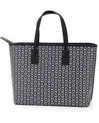 Tory Burch Gemini Link Canvas Small Top-zip Tote Bag - Black