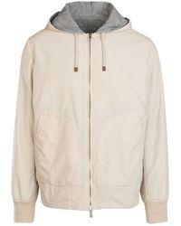 Brunello Cucinelli Reversible Drawstring Hooded Jacket - Natural