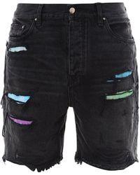 Amiri Distressed Denim Shorts - Black