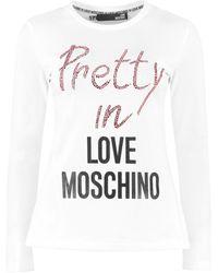 Love Moschino Logo Print Long Sleeve Top - White