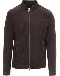 Etro Zipped Leather Biker Jacket - Brown