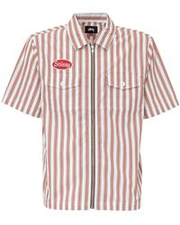 Stussy Garage Striped Zip Up Shirt - Red
